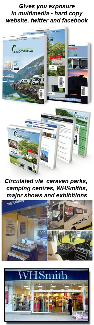 Advertise in this years caravan, motorhome and camping magazine (directory)